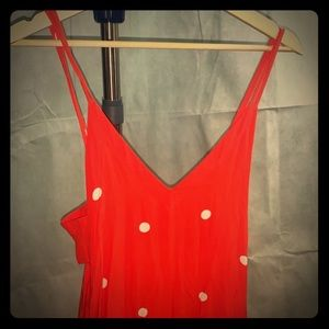 FREE PEOPLE CHERRY 🍒 RED FLOWY JUMPSUIT🍄